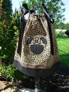 Minnie Mouse Safari Cheetah Pillowcase Dress extra for by STLGIRL, $26.00 @Laura Roberts  - MK says she needs this for our Animal Kingdom day...what do you think?