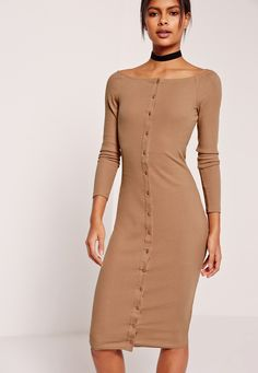 Missguided - Long Sleeve Bardot Rib Midi Dress Tan