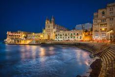 Photo of the San Glijan in Malta at night Being Human Uk, Best Sunset, Blue Hour, Best Vacations, Malta, Just Go, Places To See, Caribbean, My Photos
