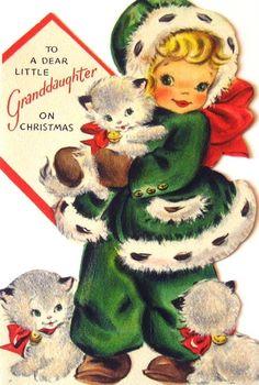 Hallmark Vintage Christmas Card - To a Dear Little Granddaughter on Christmas