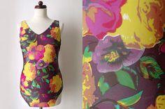 Vintage Swimsuit  Purple 1980's Bathing von PaperdollVintageShop, €19,90