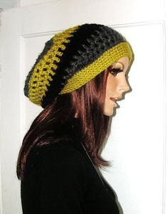 2a48addff7a Crochet Rasta - Slouchy Hippie Hat - Dreadlocks - Snood - Chartruese - Grey  - Black