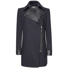 Mango Perfecto Effect Coat, Navy ($210) ❤ liked on Polyvore