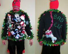 Bad Naughty Elf Tacky Ugly Christmas Sweater, light up Wild Garland Hilarious Fun Sz L Mens, funny sweater, ugly Sweater Bad Elf Sweater by tackyuglychristmas on Etsy Making Ugly Christmas Sweaters, Ugly Xmas Sweater, Tacky Christmas, Christmas Wreaths, Christmas Decorations, Xmas Sweaters, Christmas Things, Christmas Ideas, Bad Elf