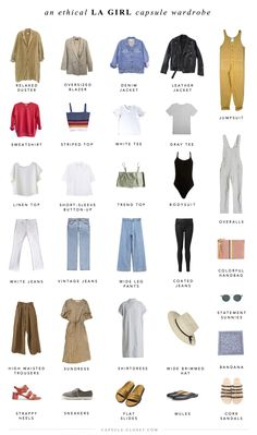 An Ethical LA Style Capsule Wardrobe – Capsule Closet French Capsule Wardrobe, New Wardrobe, French Wardrobe Basics, Closet Basics, Professional Wardrobe, Wardrobe Staples, Capsule Outfits, Fashion Capsule, Travel Outfits