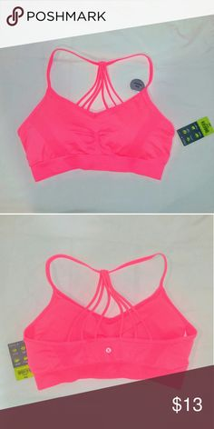NWT strappy sports bra Brand new w tags. Light support w removal padding. Super cute on! I have a short torso so  Straps were too loose for me. I also have them in purpl and teal all NWT! Xersion Intimates & Sleepwear Bras