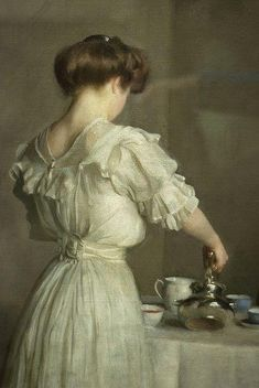 The ritual of the Tea Time.        William Mc Gregor Paxton (1869 - 1941), Tea Leaves, detail