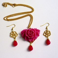 Gold plated metal with pink resin rose necklace by HirasuGaleri, $23.00