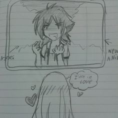 Kazuko's watching the anime HighSchool DxD :3 ... ( In Love with Issei )