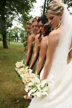 Really interesting wedding shot of the bride and bridesmaids.