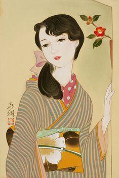 女性イラスト 大正ろまん 和風レトロ 椿 [Kisho Tsukuda]