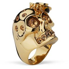 #2231 Skull ring with bee gold - ALEXANDER MCQUEEN - Jewellery - Accessories - Selfridges | Shop Online