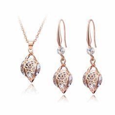 New Fine 2017 Women Romantic Water Drop Shape Zircon Earring/Necklace Jewelry Set //Price: $10.9 & FREE Shipping //     #shopping #souvenir #birthdaygift