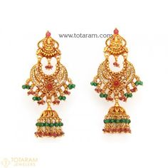 Chandbali Earrings - Temple Jewellery - 22K Gold 'Lakshmi' Drop Earrings - 235-GER7321 - Buy this Latest Indian Gold Jewelry Design in 15.350 Grams for a low price of  $863.25
