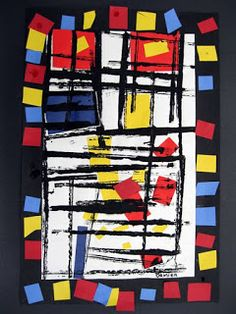 KINDERGARTEN art on Artsonia.my kinder's take on mondrian. fun first project of the year. and intro to cutting/gluing.
