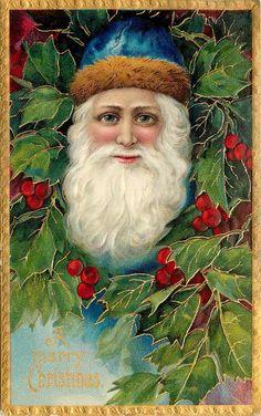 Santa Claus Blue Hat Brown Fur Holly Berry Gold Leaf Emboss Serie 1480 Germany | eBay
