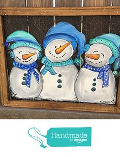 Snowman in blue, Hand painting Original Snowman, indoor or outdoor of your home,winter Art , window Screen from RebecaFlottArts http://www.amazon.com/dp/B0163S6TXO/ref=hnd_sw_r_pi_dp_nYolwb192312B #handmadeatamazon
