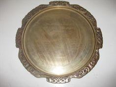 Vintage brass hollywood regency award Military medal tray 1970