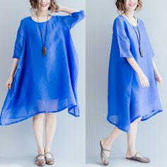 Dress - Women Summer Short Sleeve Loose Round Neck Dress