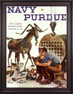 1944 Navy Midshipmen vs Purdue Boilermakers 30 x 40 Framed Canvas Historic Football Poster