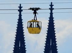 Rheinseilbahn is the cable car which crosses the Rhine River by Cologne and offers a fabulous view for miles. On special dates it is open for night time crossings. Spectacular!