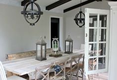 Sherwin Williams Agreeable Gray in farmhouse, country style dining room, dark wood. Paint colour Kylie M E-design,