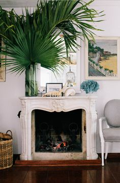 The Hibiscus Hill fireplace which now looks naked with out our trademark oversized vase of palm fronds.