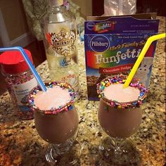 Use funfetti brownie mix, wedding cake vodka and ice cream to make this delighful adult drink!!!