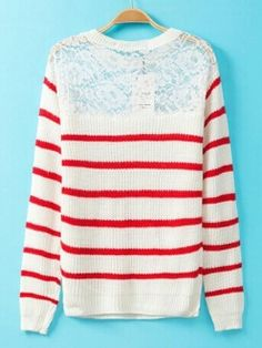 Red & White Striped Lace Spliced Long Sleeve Sweater keeps you warm .