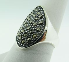 Sterling Silver vintage large ring with stones by VintageJewelryBazaar on Etsy