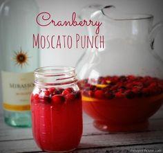 Cranberry Moscato Punch - moscato (I will use sparkling cider), cranberry juice, orange juice, lemon, fresh cranberries.