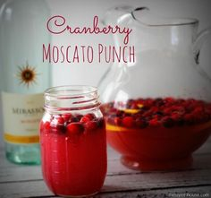 Cranberry Moscato Punch - moscato (I will use sparkling cider), cranberry juice, orange juice, lemon, fresh cranberries.