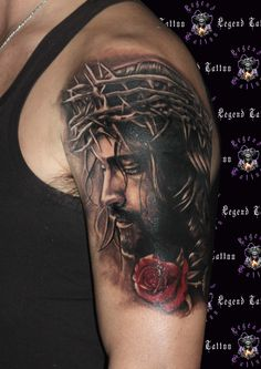 jesus tattoo,www.legendtattoo.gr,portrait tattoo,rose  tattoo,religious tattoo,tattoo sxedia,portraito tattoo,xristos tattoo.