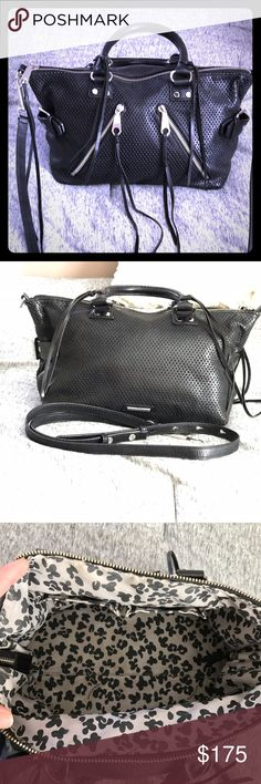 Rebecca Minkoff Moto Satchel Rare perforated leather black satchel. Minimal wear.  Only defect is an ink stain in inner zippered pouch (as shown in pictures).  Comes with removable and adjustable shoulder/crossbody strap! Please don't hesitate to ask any questions! I'd be happy to answer! Rebecca Minkoff Bags Satchels