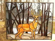 Stained Glass Buck deer among trees - @Annette McClelland - an idea for our gun case