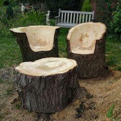 Log chairs & table