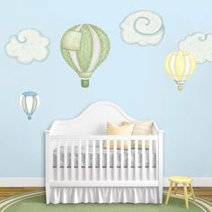 Lovely hot-air balloon wall decals and cloud wall stickers {by My Wonderful Walls}. Available in different 4 color schemes. Easy peel and stick!