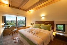 """At the first floor there is the master bedroom with a King size Bed. It's your next vacation house during your vacation in our """"Villa Orangia"""" - Crete, Greece. You can rent it ! Best Boutique Hotels, Boutique Homes, Mansion Rooms, Bed Design, Luxury Bedding, Indoor, House, Furniture, Crete Greece"""