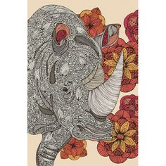 "East Urban Home Rhino by Valentina Harper Graphic Art on Wrapped Canvas Size: 40"" H x 26"" W x 1.5"" D"