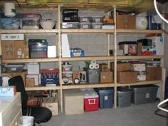 basement storage ideas - could hide with a curtain to look more polished