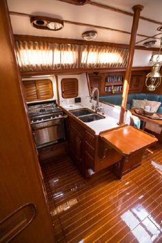 1990 Mason 44 Ta Shing Cutter Sail Boat For Sale - www.yachtworld.com fold down galley table.