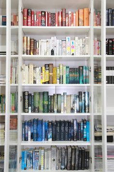 introvertedbookworm24:booksandtheirstories:My rainbow bookshelf This is heaven!