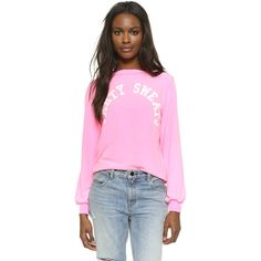 Wildfox Party Sweatshirt ($98) ❤ liked on Polyvore featuring tops, hoodies, sweatshirts, party girl, long sleeve jersey top, going out tops, long sleeve sweatshirt, pink sweatshirts and wildfox