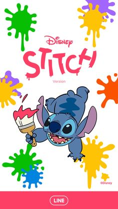 Uh-oh, looks like Stitch got his hands on some paint! Try and keep up as Stitch adds splashes of color and adorable scribbles to your screens. Lilo Stitch, Stitch Cartoon, Stitch Tumblr, Toothless And Stitch, Disney Lines, Disney Silhouettes, Lines Wallpaper, Disney Phone Wallpaper, Mickey Mouse