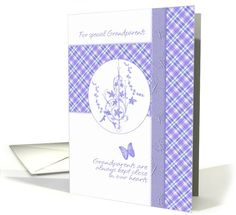 Grandparents Day Greeting Card with Painted cloth & flowers card