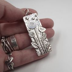 Sterling Flower Garden Pendant with Leaves and Vines Nature