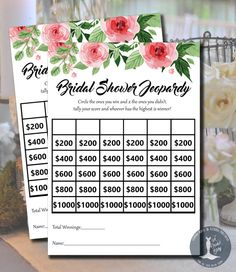 Bridal Shower Jeopardy! Divide into teams and answer trivia ...