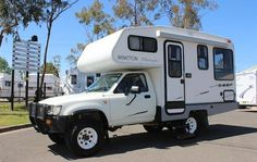 Toyota Hilux RV - Sydney RV Group have a large range of used Toyota Hilux RVs for sale to suit your needs and budget. Toyota Motorhome, Toyota Camper, Mini Motorhome, Toyota Trucks, Truck Bed Camper, Pickup Camper, Toyota Chinook, Pick Up, Minivan Camper Conversion