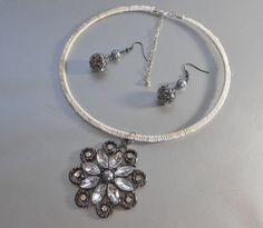 Ivory Crochet Bridal Necklace Set by IrmasElegantBoutique