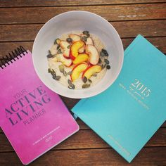 Making plans and setting goals over a NOURISHING breakfast, using the LJ Active Living Planner and MNB 2015 Diary!